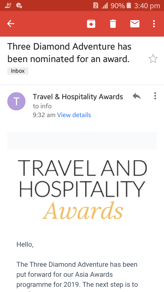 Travel & hospility award Three diamond